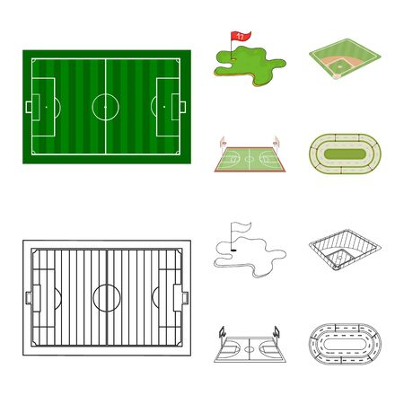 Vector illustration of field and sport symbol. Collection of field and game stock symbol for web.