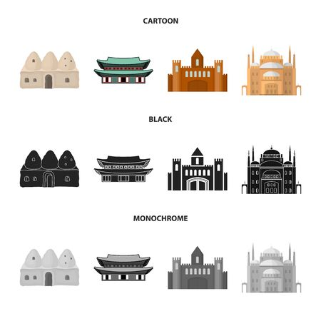 Isolated object of town and chinatown. Collection of town and asian stock vector illustration.