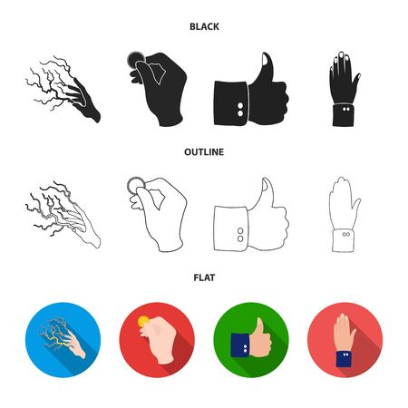Isolated object of animated and thumb icon. Set of animated and gesture stock vector illustration. Vektoros illusztráció