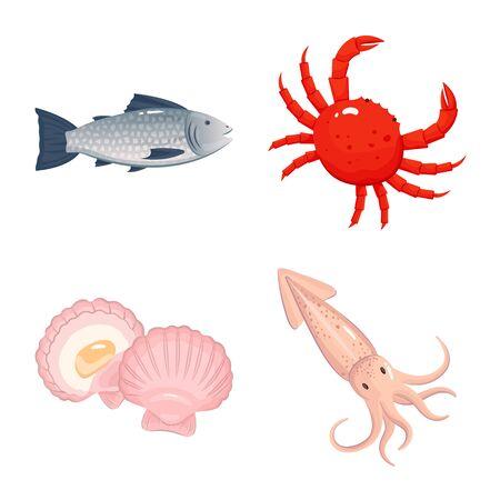 Illustrazione vettoriale di cibo e icona del mare. Set di cibo e icona di vettore sano per stock.
