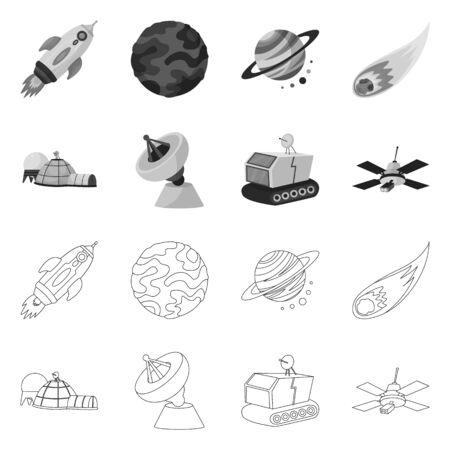 Vector design of astronomy and technology sign. Set of astronomy and sky stock vector illustration. Ilustração Vetorial