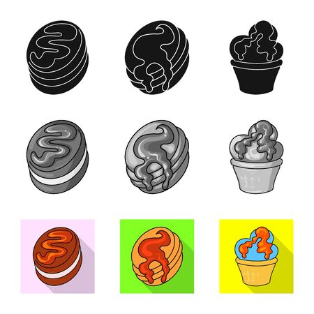 Isolated object of confectionery and culinary. Set of confectionery and product stock symbol for web.