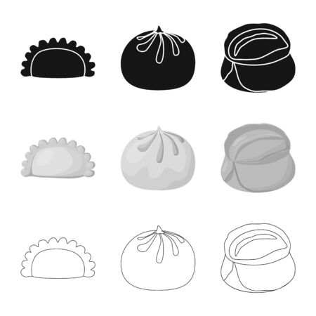 Vector design of products and cooking icon. Collection of products and appetizer stock vector illustration.
