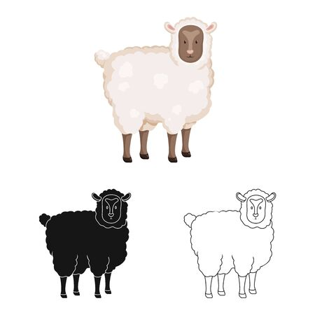 Vector illustration of sheep and pet icon. Collection of sheep and lamb stock symbol for web. Vettoriali