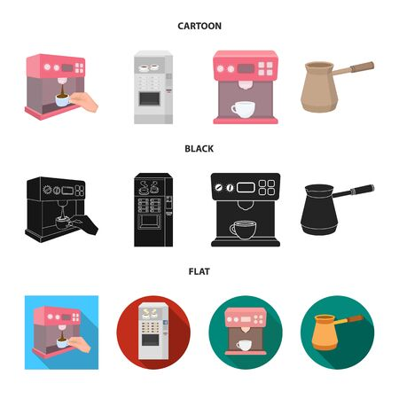 Vector design of coffee and machine symbol. Collection of coffee and kitchen stock vector illustration.