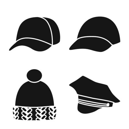 Isolated object of beanie and beret icon. Collection of beanie and napper vector icon for stock.