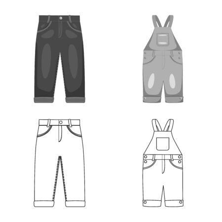 Illustration vectorielle du signe de la mode et du vêtement. Ensemble d'icônes vectorielles mode et coton pour le stock. Vecteurs