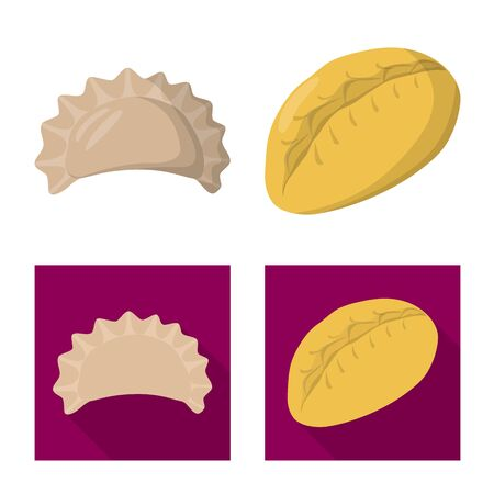 Vector illustration of products and cooking symbol. Set of products and appetizer vector icon for stock. Illustration