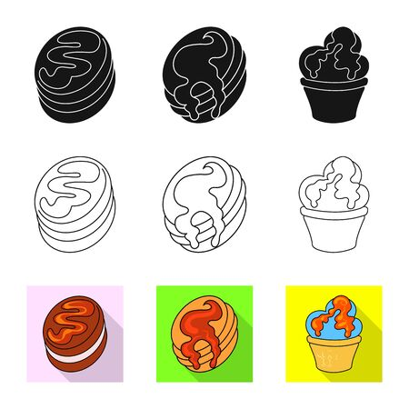 Vector illustration of confectionery and culinary symbol. Set of confectionery and product stock vector illustration.
