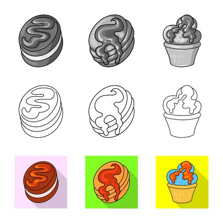 Vector illustration of confectionery and culinary icon. Set of confectionery and product stock vector illustration.