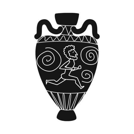 Vector illustration of amphora and artifact icon. Collection of amphora and civilization stock vector illustration.
