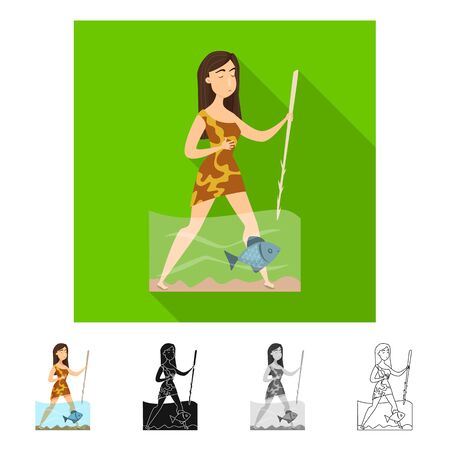 Vector design of woman and neanderthal sign. Set of woman and fish vector icon for stock.