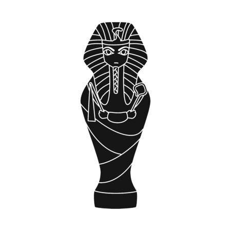 Vector design of sarcophagus and pharaoh logo. Set of sarcophagus and tomb vector icon for stock.