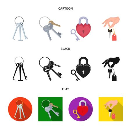 Isolated object of key and protection sign. Set of key and security vector icon for stock.