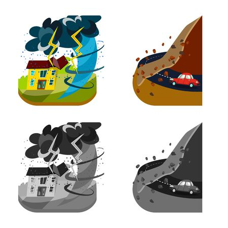 Vector illustration of weather and distress icon. Collection of weather and crash stock vector illustration.