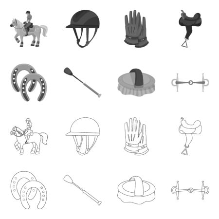 Isolated object of equipment and riding sign. Set of equipment and competition vector icon for stock.
