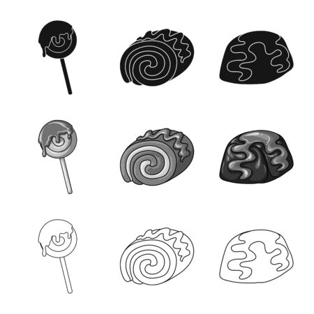 Vector illustration of confectionery and culinary sign. Set of confectionery and product vector icon for stock.