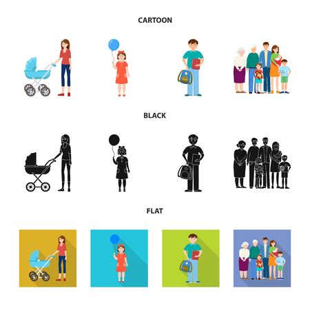 Vector illustration of character and avatar. Set of character and portrait stock symbol for web. Ilustrace