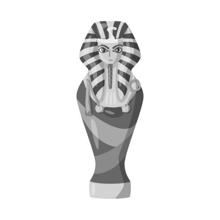 Isolated object of sarcophagus and pharaoh icon. Collection of sarcophagus and tomb vector icon for stock. Illustration