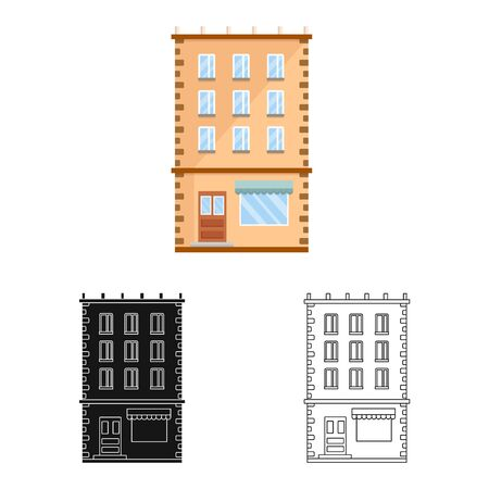 Isolated object of house and residence. Collection of house and pane vector icon for stock. Standard-Bild - 125985226