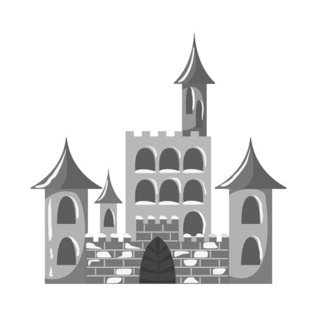 Vector design of castle and ice. Set of castle and sculpture stock vector illustration. Illustration