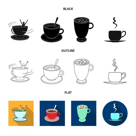 Isolated object of cup and coffe . Set of cup and top stock vector illustration.