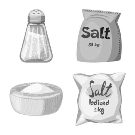 Vector design of salt and food icon. Collection of salt and mineral vector icon for stock.