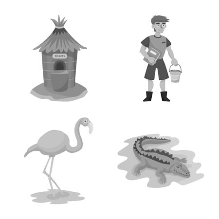 Isolated object of zoo and park symbol. Collection of zoo and animal stock symbol for web.  イラスト・ベクター素材