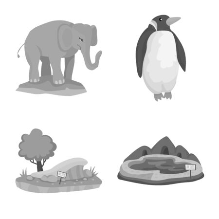 Vector design of zoo and park icon. Set of zoo and animal stock symbol for web. Illusztráció