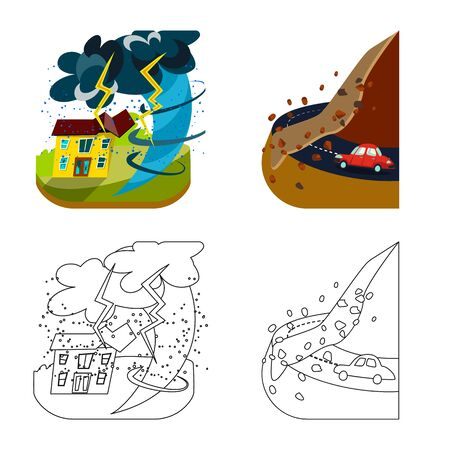 Vector illustration of weather and distress sign. Collection of weather and crash stock vector illustration. Illustration