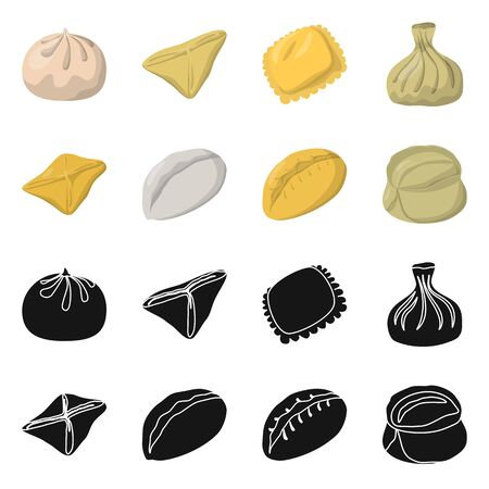 Isolated object of products and cooking sign. Collection of products and appetizer vector icon for stock. Ilustrace