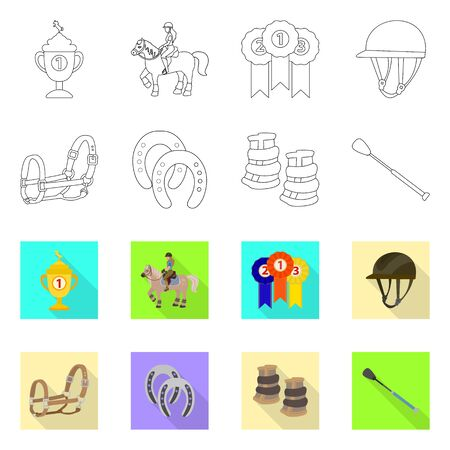 Isolated object of equipment and riding symbol. Collection of equipment and competition vector icon for stock. Illusztráció