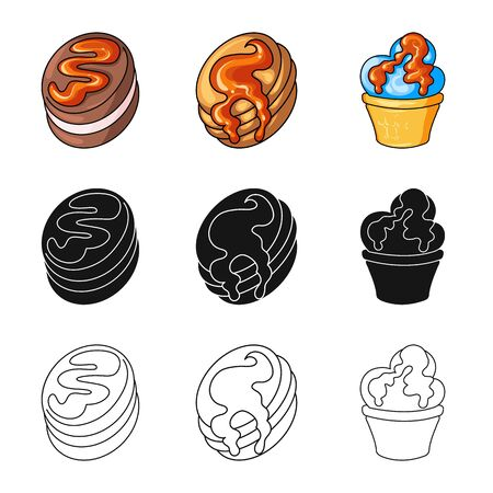 Isolated object of confectionery and culinary. Collection of confectionery and product stock symbol for web. Векторная Иллюстрация