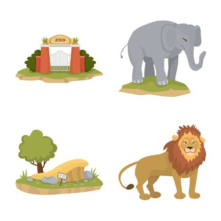 Vector design of zoo and park symbol. Set of zoo and animal vector icon for stock.