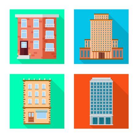 Vector design of municipal and center sign. Set of municipal and estate stock vector illustration. Illustration