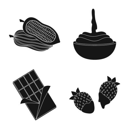 Isolated object of cooking and brown sign. Collection of cooking and beans stock symbol for web.