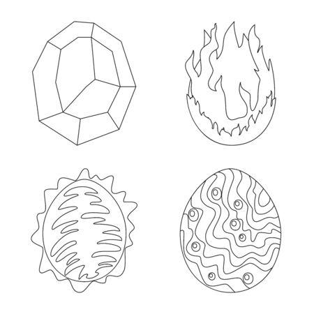 Vector illustration of dinosaur and magic icon. Set of dinosaur and fantasy vector icon for stock.