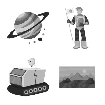 Vector illustration of universe and travels sign. Set of universe and cosmic vector icon for stock.