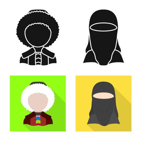 Vector design of imitator and resident symbol. Set of imitator and culture vector icon for stock.