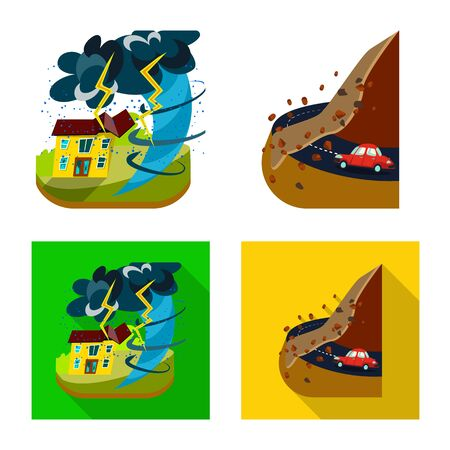 Isolated object of weather and distress . Collection of weather and crash stock vector illustration.
