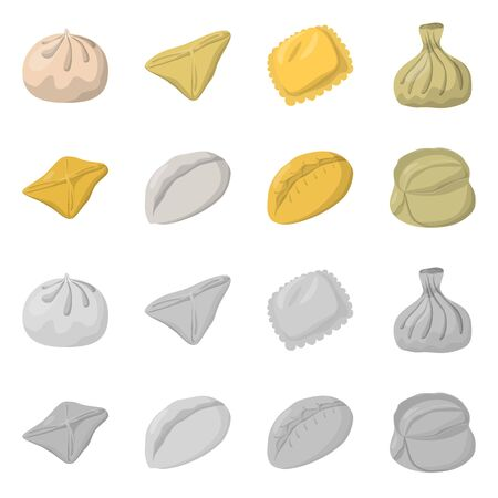 Vector design of products and cooking . Set of products and appetizer vector icon for stock.