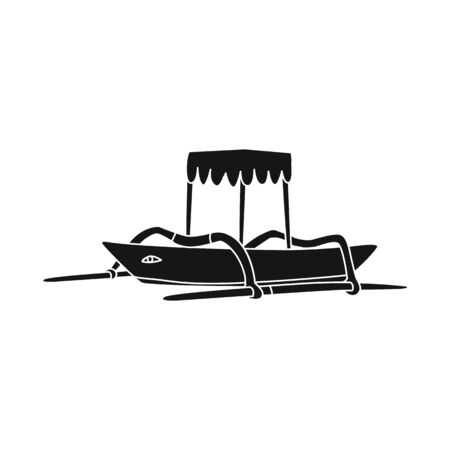 Vector illustration of boat and sail sign. Set of boat and ocean stock symbol for web. Ilustração