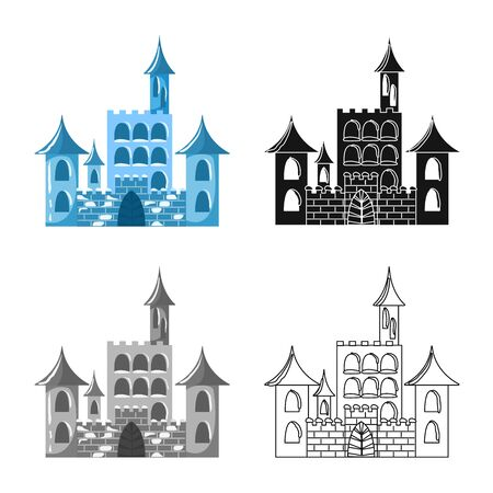Vector design of castle and ice symbol. Collection of castle and sculpture stock symbol for web. Illustration