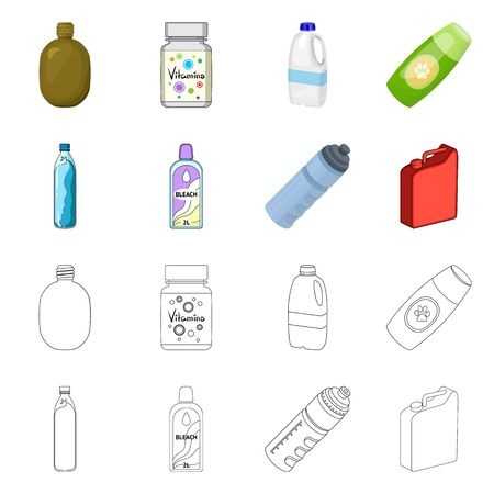 Isolated object of plastic and container symbol. Set of plastic and packaging stock symbol for web.