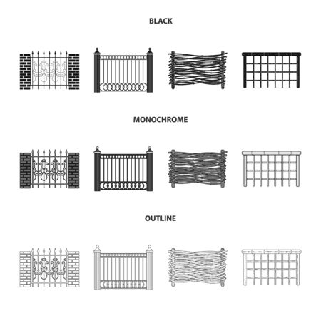 Vector design of gate and fence sign. Set of gate and wall stock symbol for web. Vettoriali
