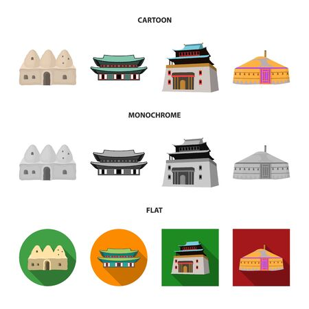 Vector design of town and chinatown sign. Collection of town and asian stock symbol for web. Illusztráció