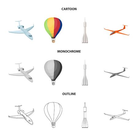 Isolated object of transport and object icon. Set of transport and gliding stock vector illustration.