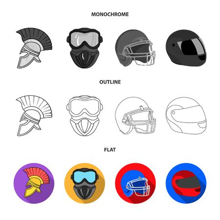 Isolated object of helmet and sport icon. Set of helmet and moto vector icon for stock. Ilustrace