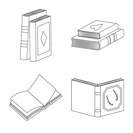 Isolated object of study and literature symbol. Set of study and source vector icon for stock.