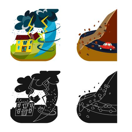 Vector design of weather and distress sign. Collection of weather and crash stock vector illustration.